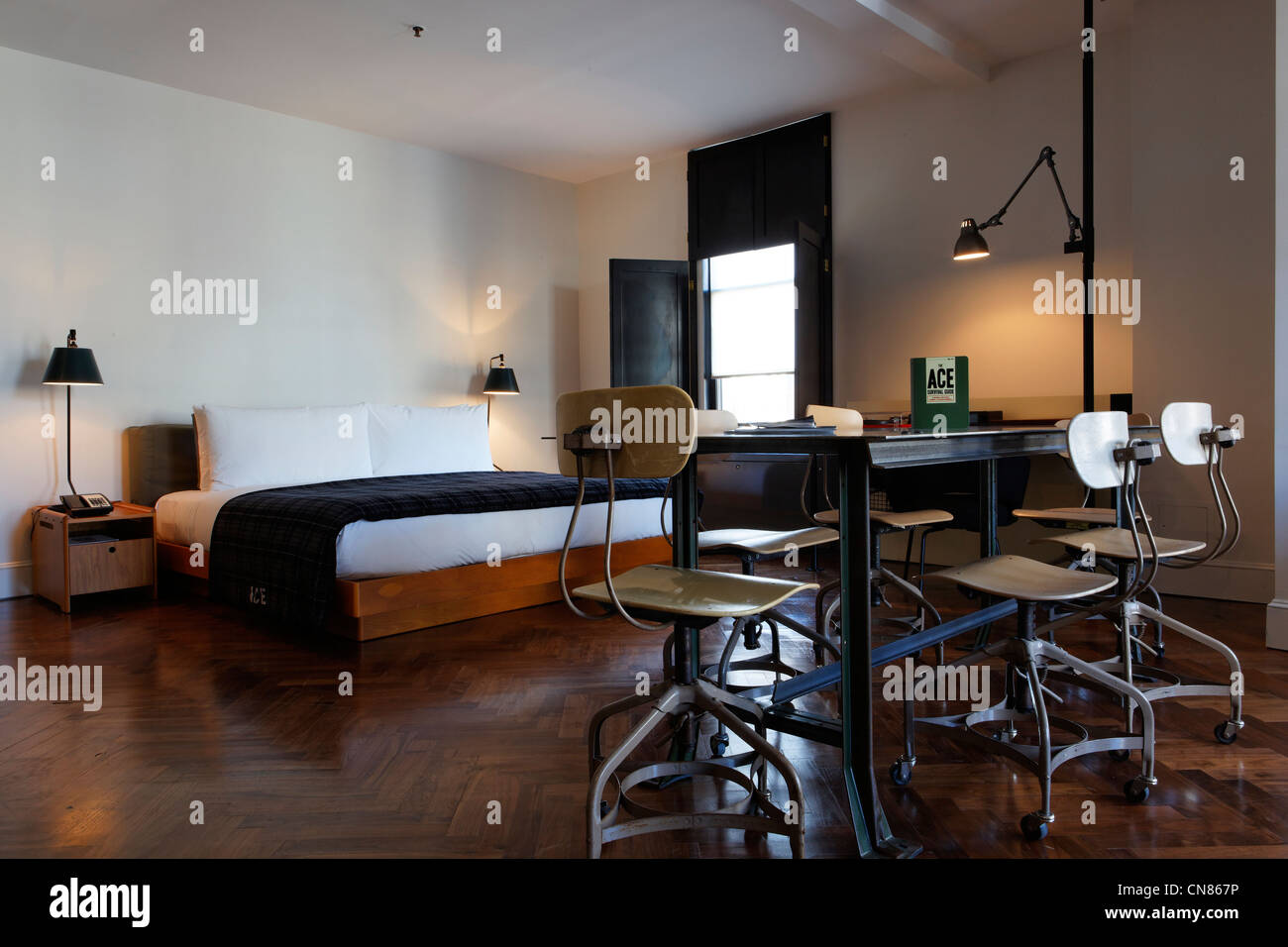 United States, New York City, Manhattan, Ace hotel, room, 20 West on 29th Street - Stock Image