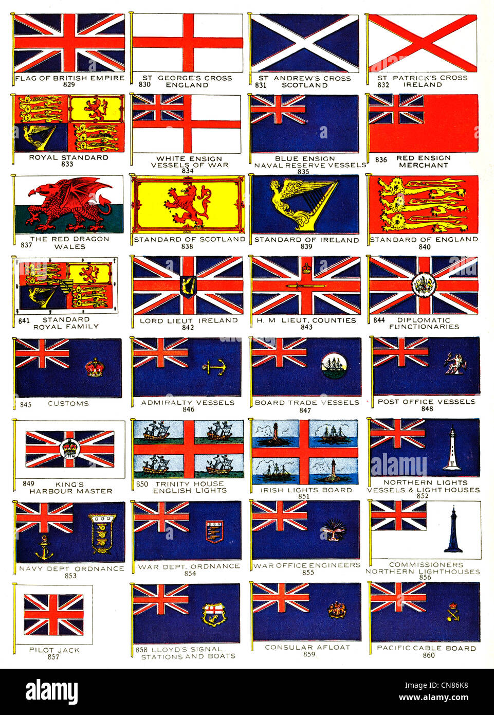 First published 1917 Flag Flags Standard St George's Cross England British Empire St Andrews Scotland St Patrick's - Stock Image