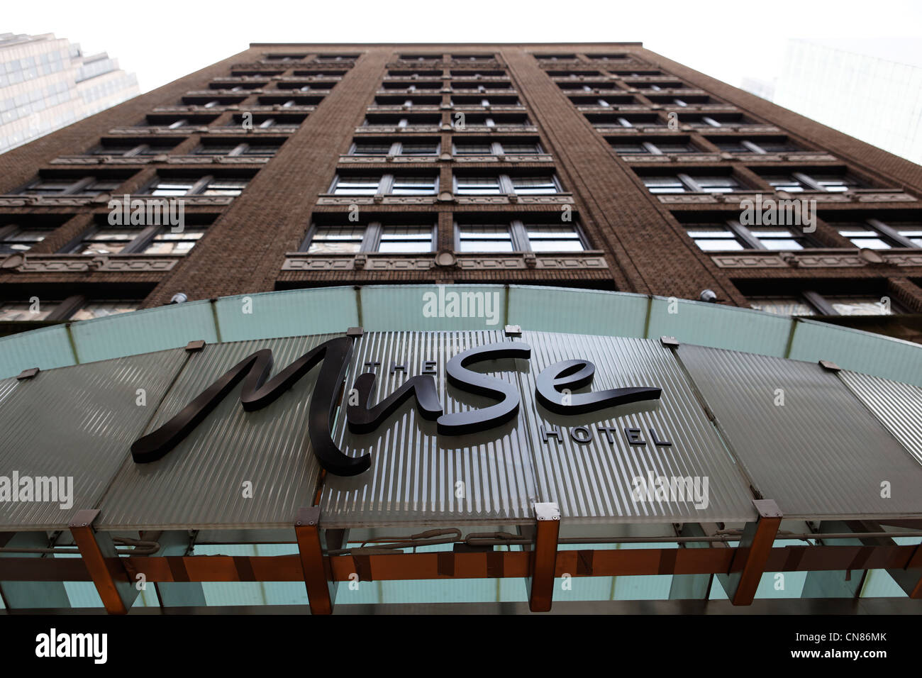 United States, New York City, Manhattan, Midtown, The Muse hotel, facade, 130 W, 46th Street - Stock Image