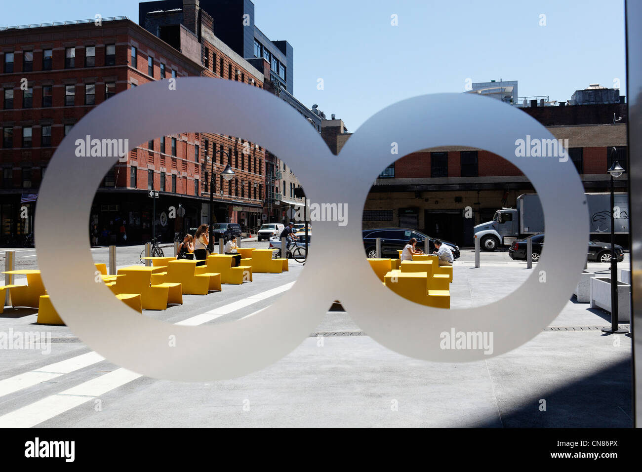 United States, New York City, Manhattan, Meatpacking District, logo on door and outside terrace, Standard Hotel, - Stock Image