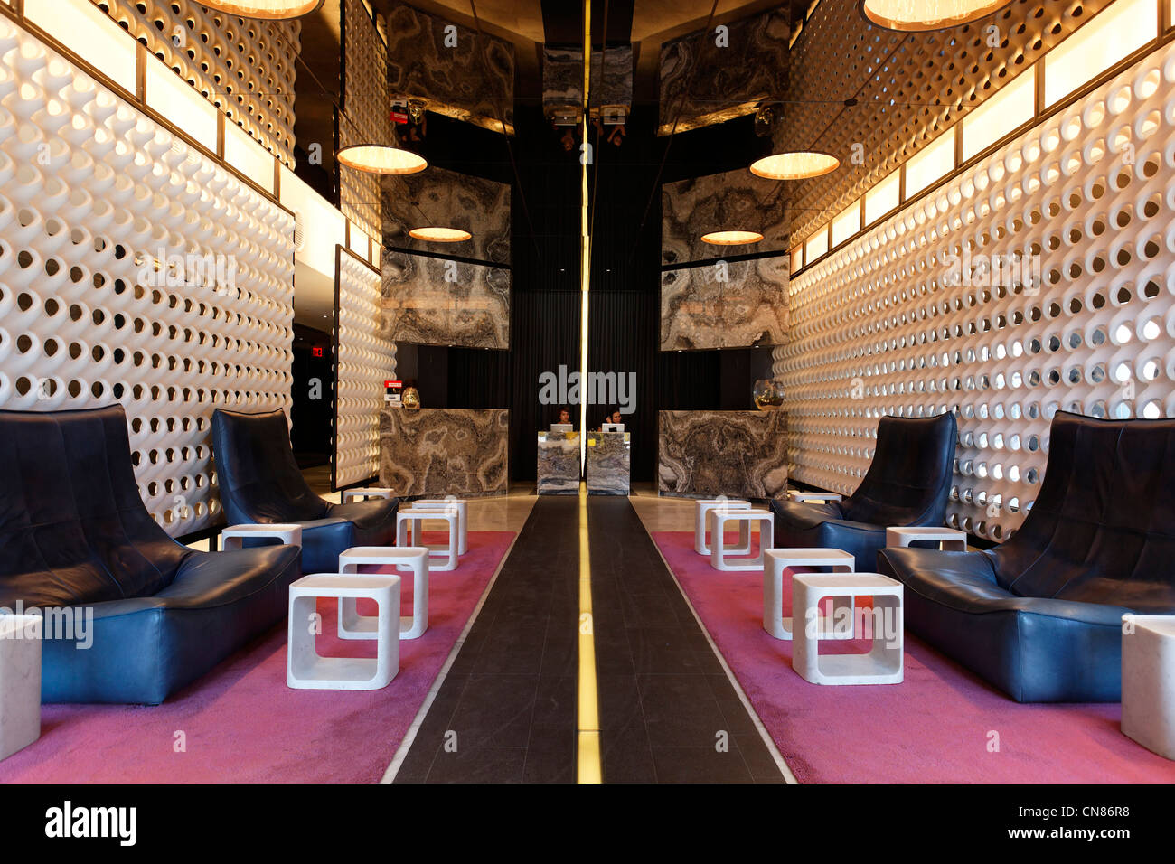 United States, New York City, Manhattan, Meatpacking District, Standard Hotel, lobby and reception desk, 848 Washington - Stock Image