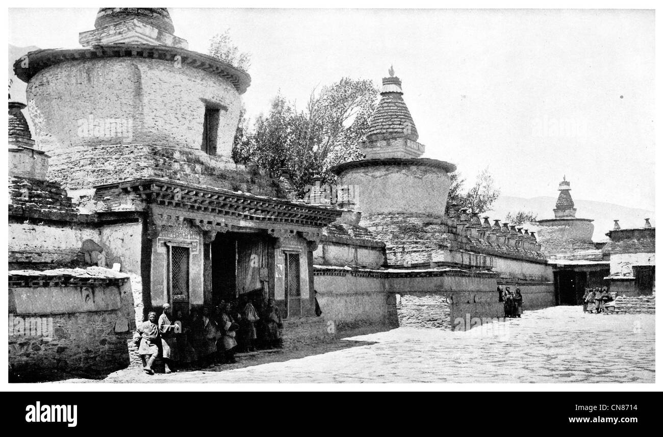 First published 1916 Chortens Lha Lung Monastery Tiber Entrance Tibetan - Stock Image