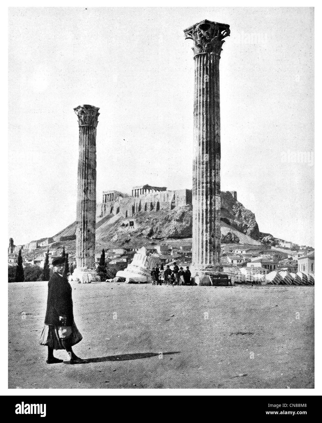 First published 1915 Temple of Jupiter Athens Greece - Stock Image
