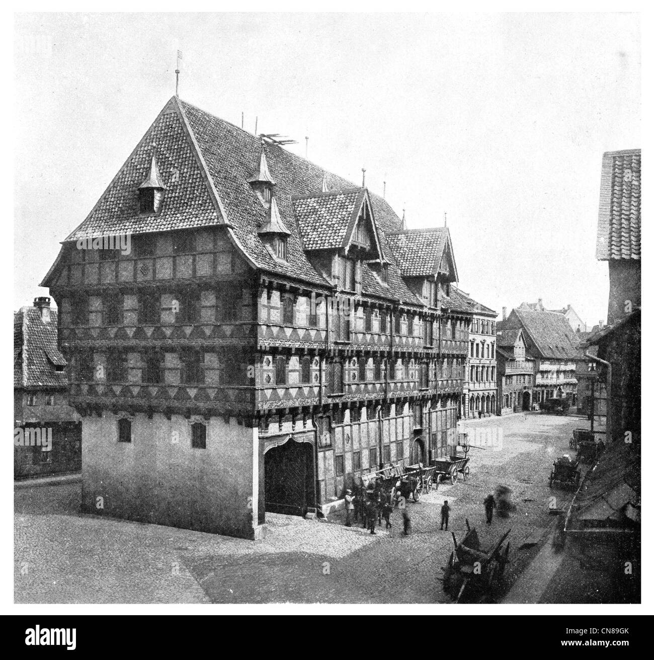 First published 1915  Market Square in Braunschweig Brunswick Germany weighing and storage house - Stock Image