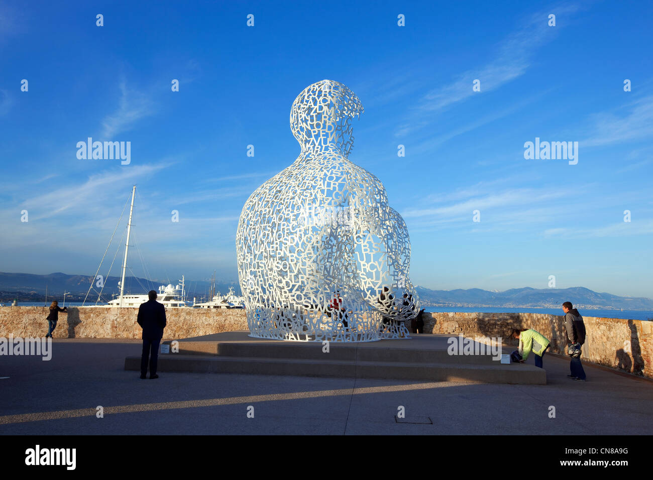 France, Alpes Maritimes, Antibes Bastion Saint Jaume cultural space, the Nomad, statue installed in 2007, designed - Stock Image