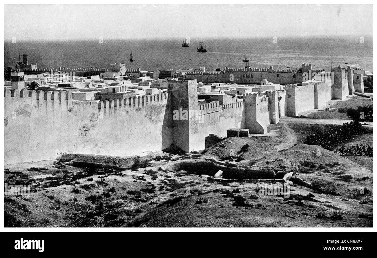First published 1914  Sousse Curtain Wall Tunisia ancient city coast Stock Photo