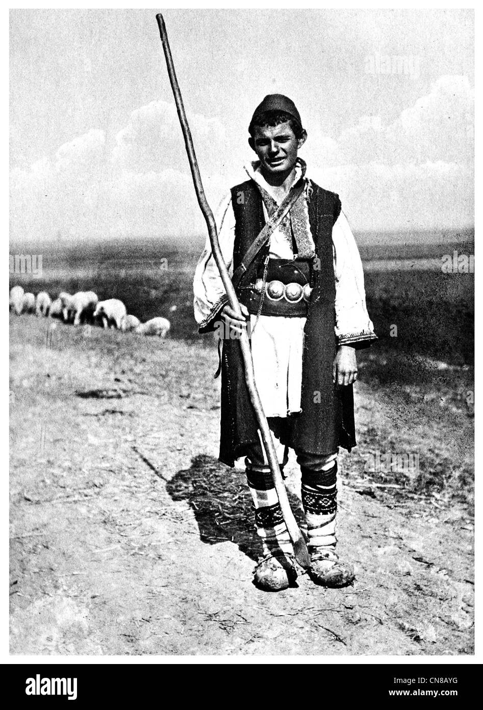 First published 1915 shepherd Macedonian Christian peasant - Stock Image