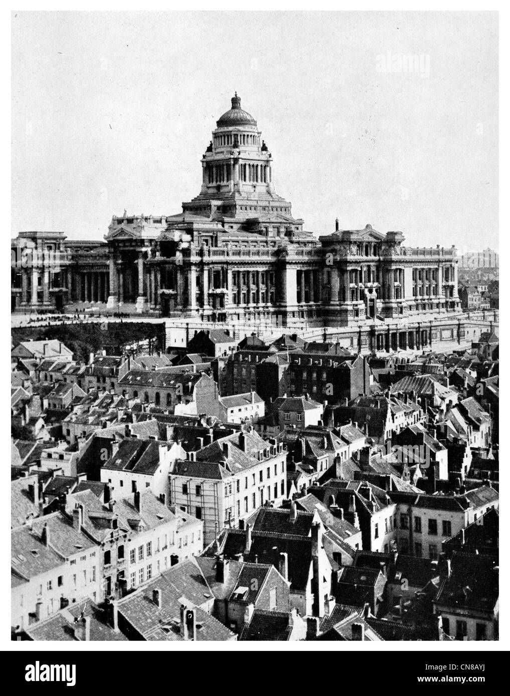 First published 1914  Brussels City Palace of Justice - Stock Image