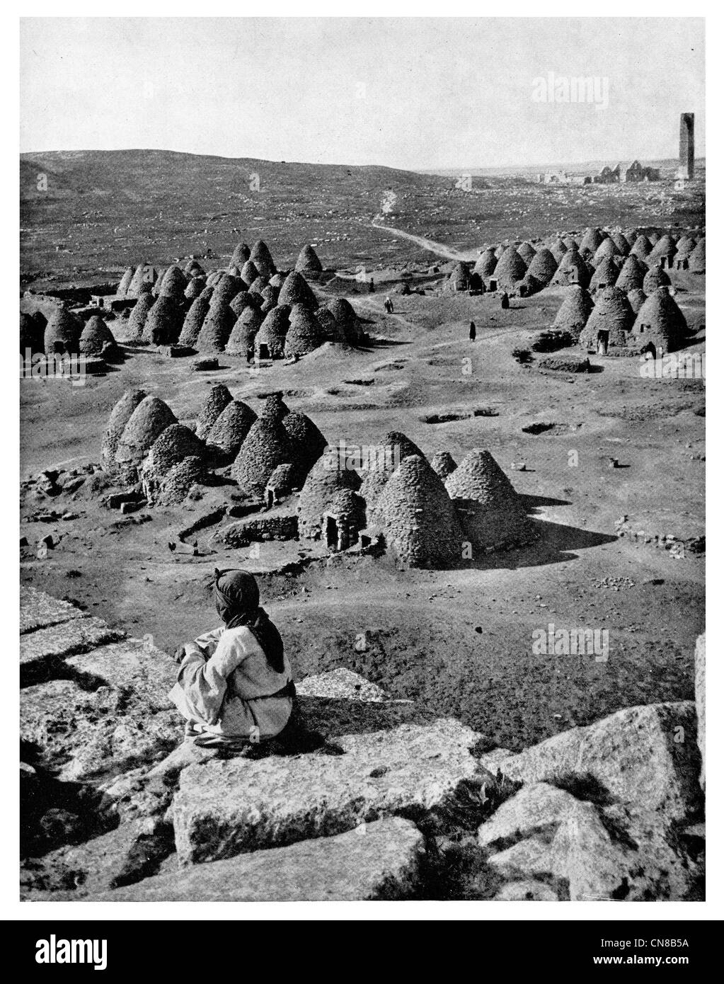 First published 1914  Harran  Tribes Bee Hive Village Turkey - Stock Image