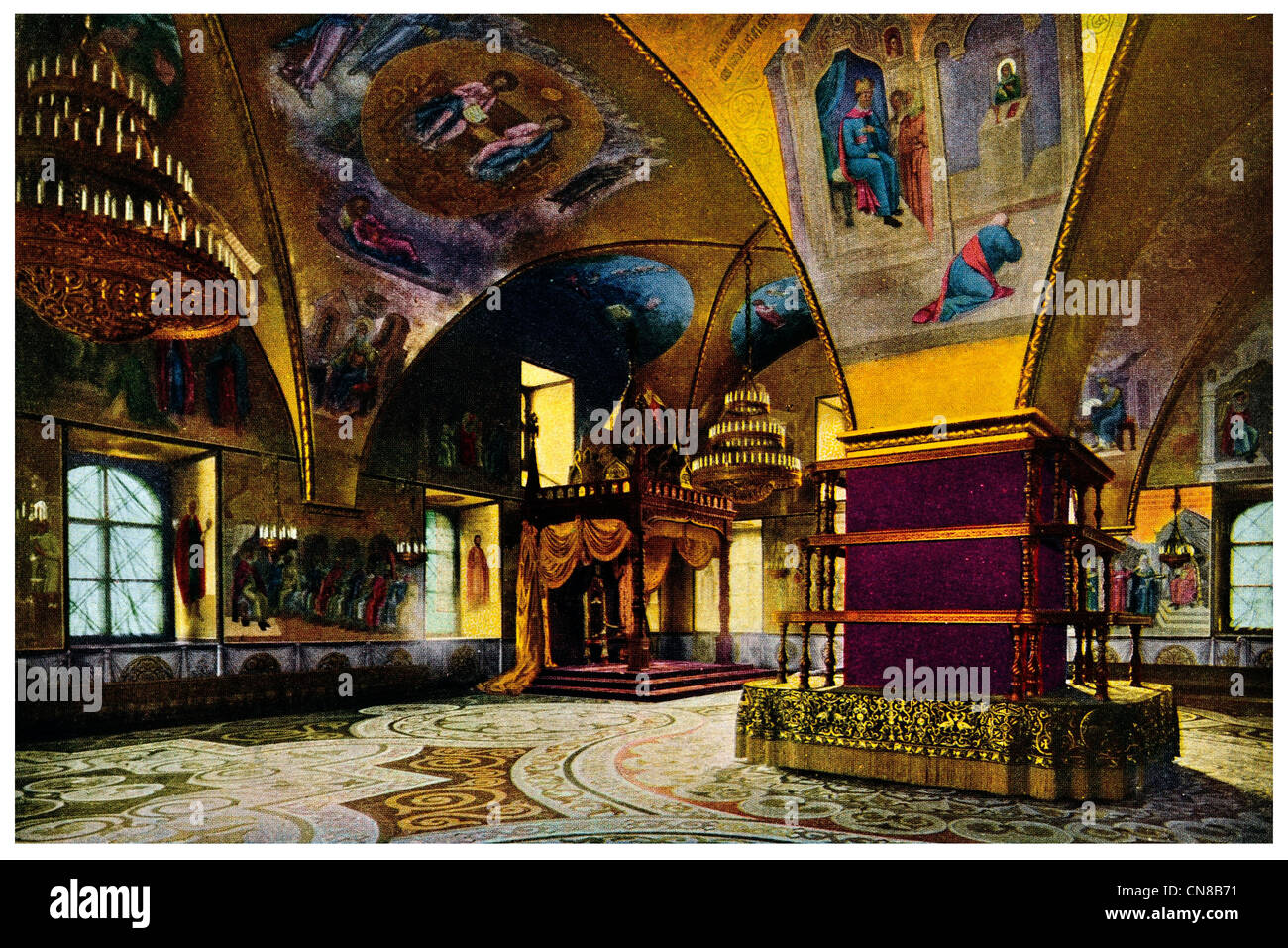 First published 1914  Imperial Palace Throne Room Moscow Kremlin The Terem - Stock Image
