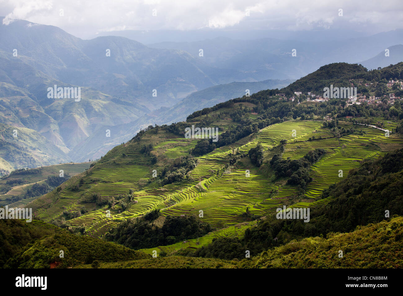 Landscape of The Yuanyang Rice Terraces (Yuanyang Titian) at Feb. - Stock Image