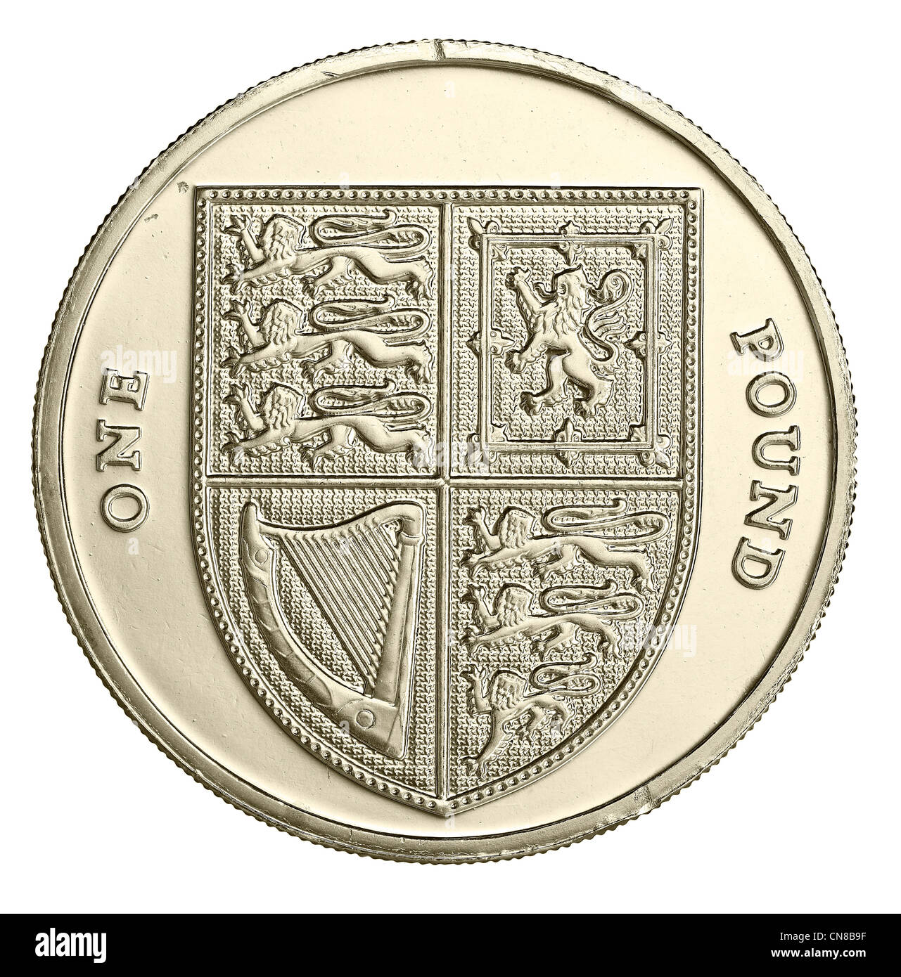 1 one £ coin pound overhead - Stock Image