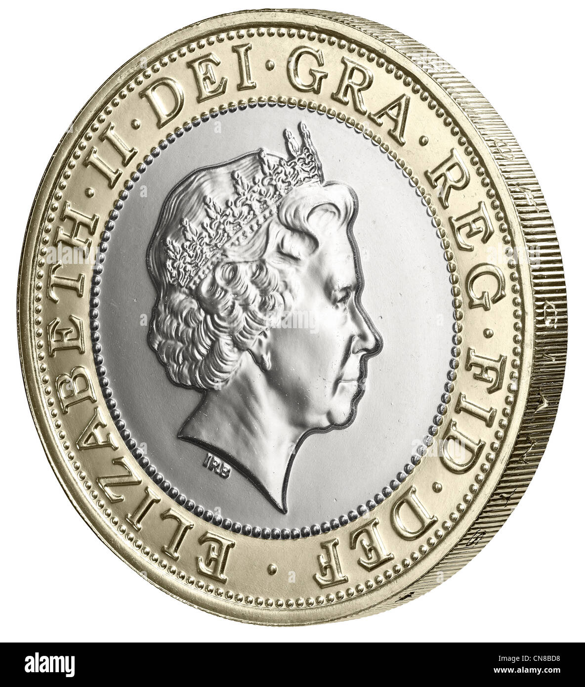 £2 two pound coin heads obverse side on - Stock Image