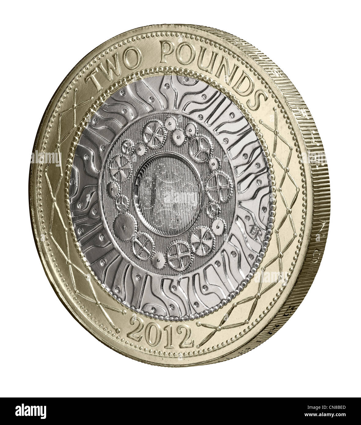 £2 two pound coin side on heads obverse 2012 - Stock Image