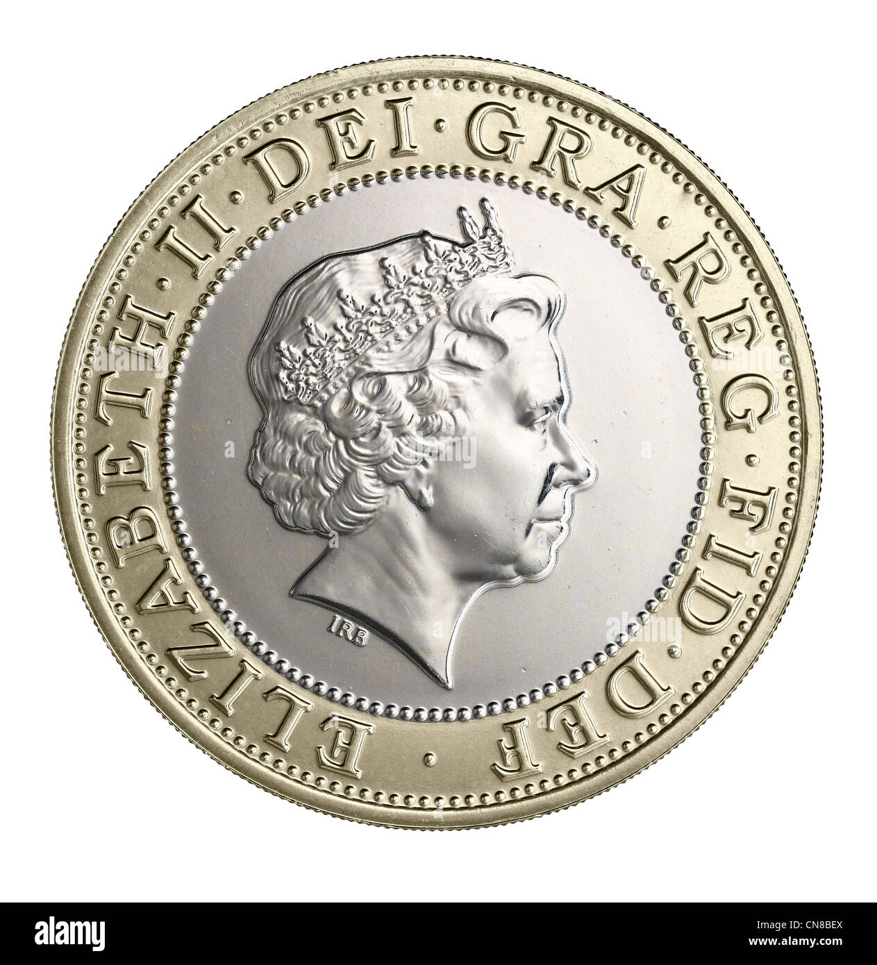£2 two pound coin head on heads obverse 2012 - Stock Image