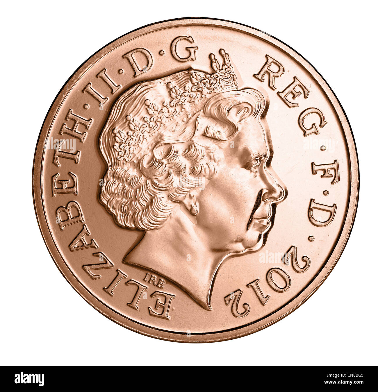 2p two pence coin head on heads obverse 2012 - Stock Image