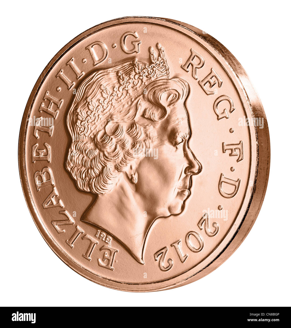 2p two pence coin side on heads obverse 2012 - Stock Image