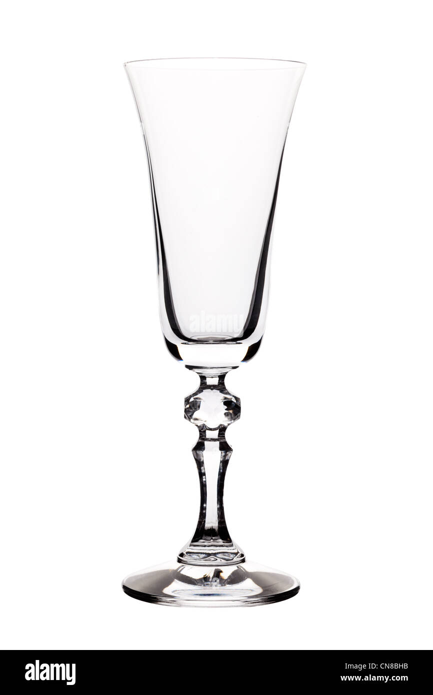 Empty Champagne flute isolated on white - Stock Image