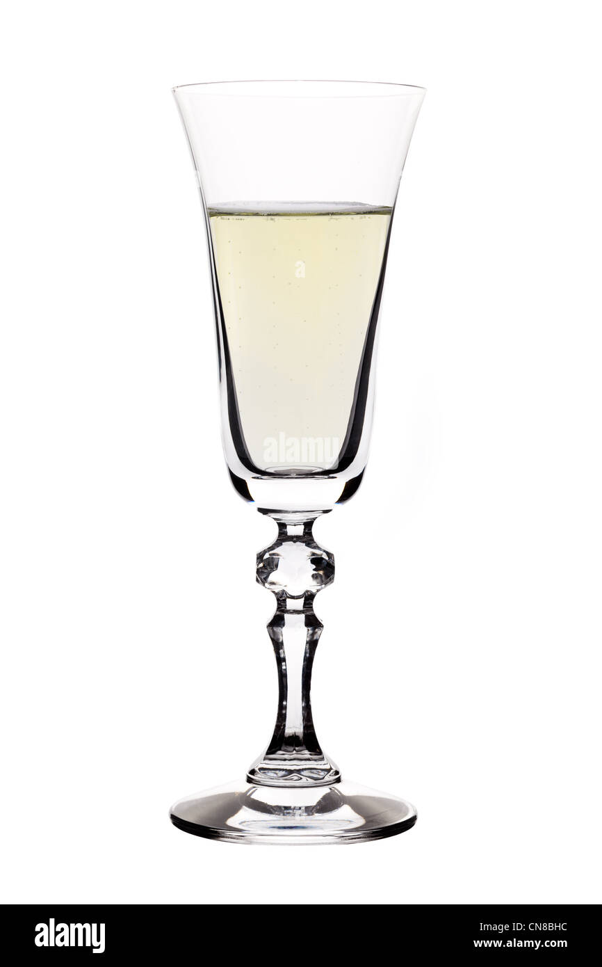 Full Champagne flute isolated on white - Stock Image