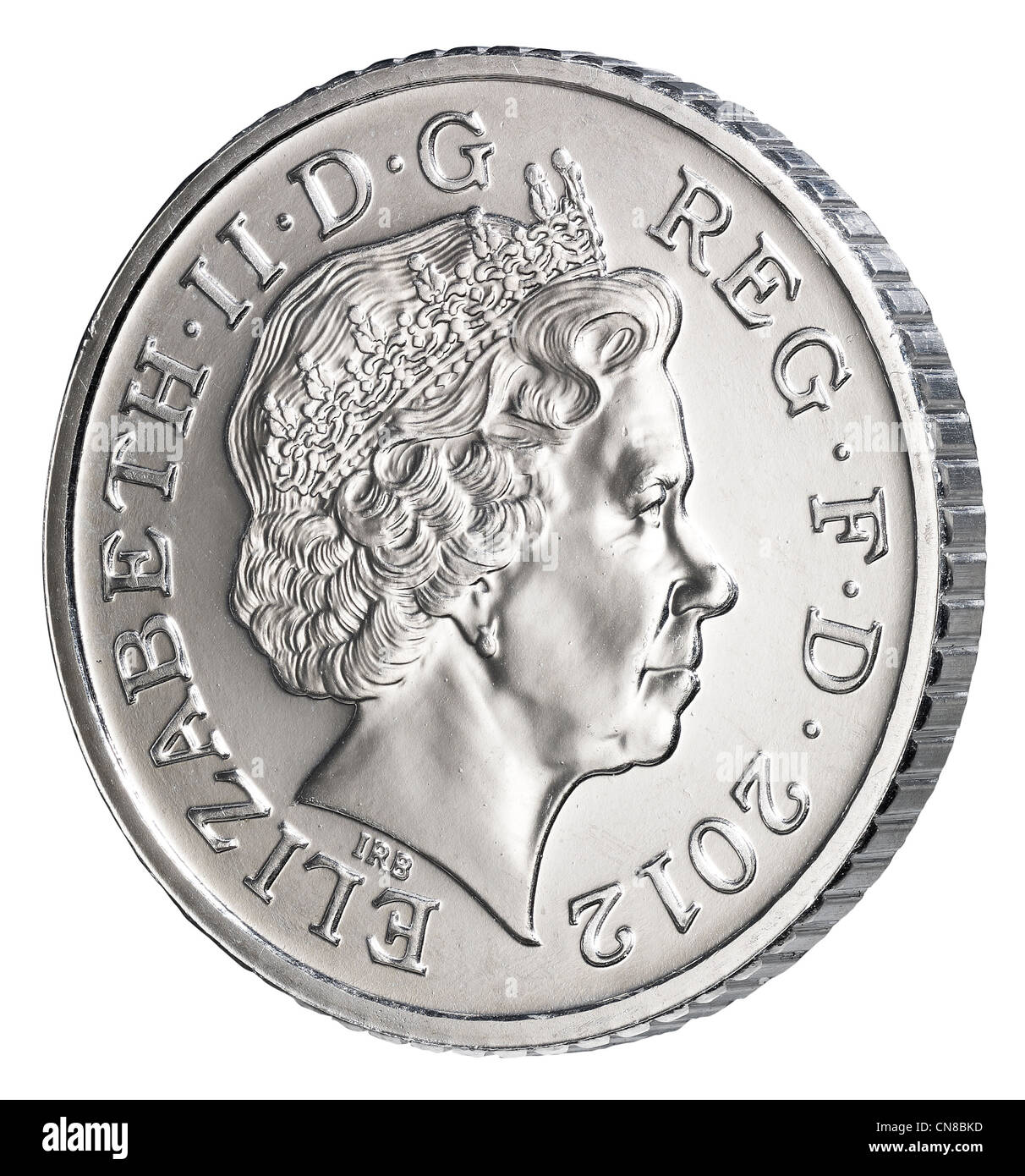 5p five pence coin side on obverse heads 2012 - Stock Image