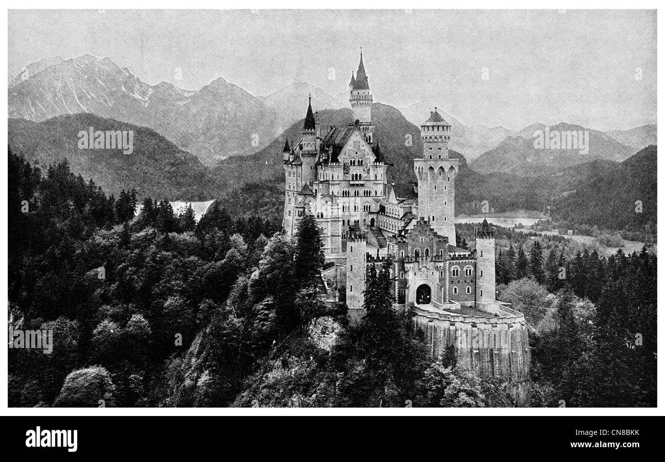First published 1914 Schloss Neuschwanstein Castle Germany - Stock Image