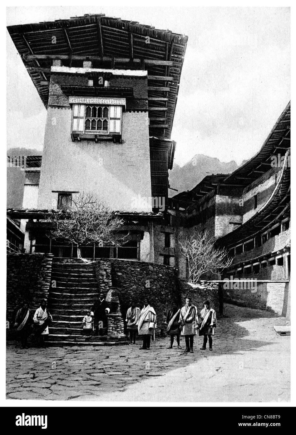 First published 1914 Duggye Jong Castle Bhutan fortress courtyard citadel dzong fortress asia - Stock Image