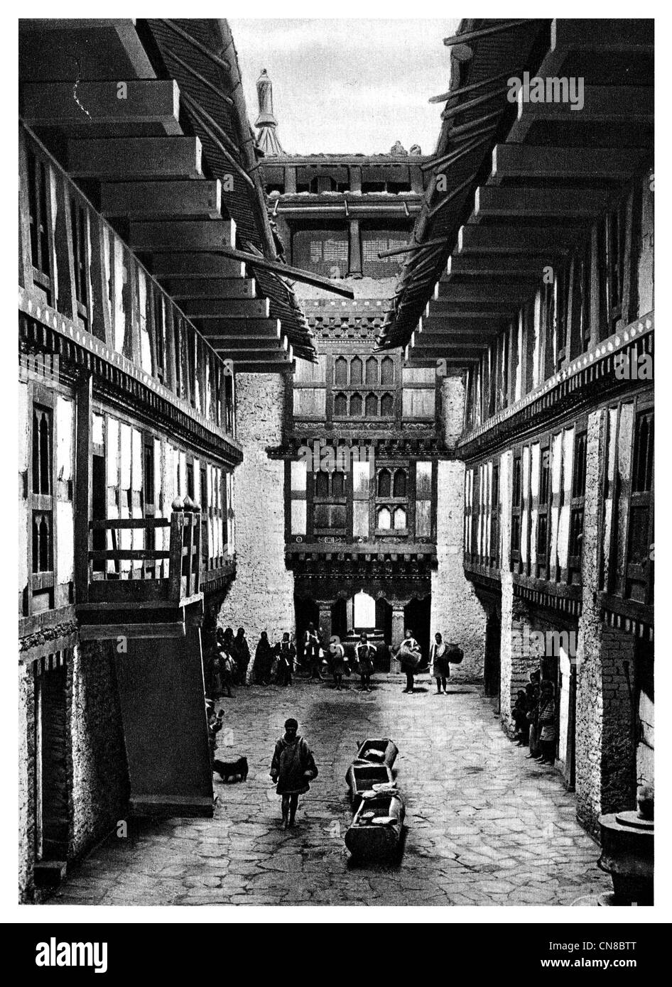 First published 1914 Byagha Jong fortress Palace of the Kings Bhutan - Stock Image