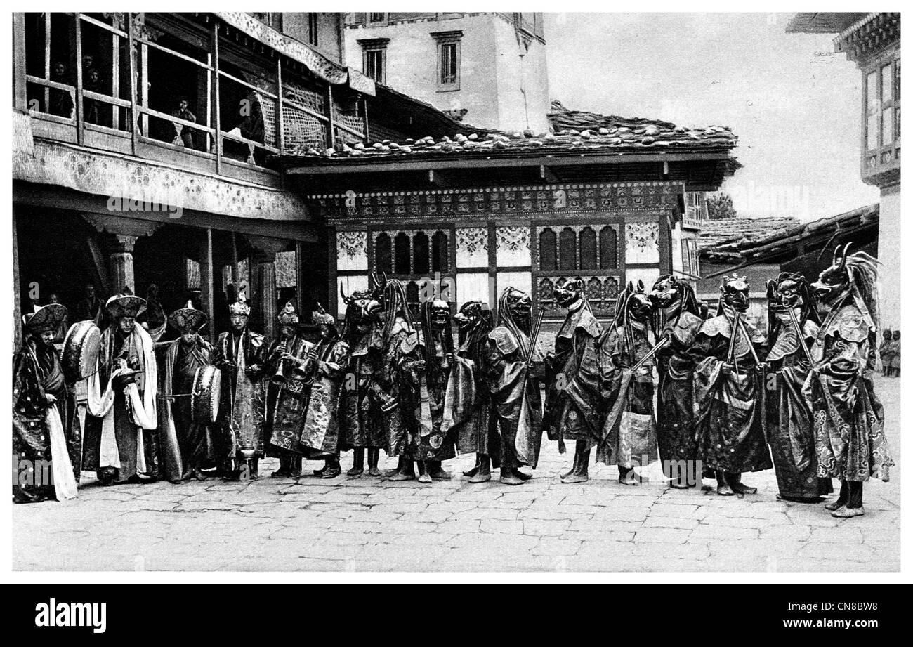 First published 1914 Masked Dancers Tongsa trongsa Jong Bhutan - Stock Image