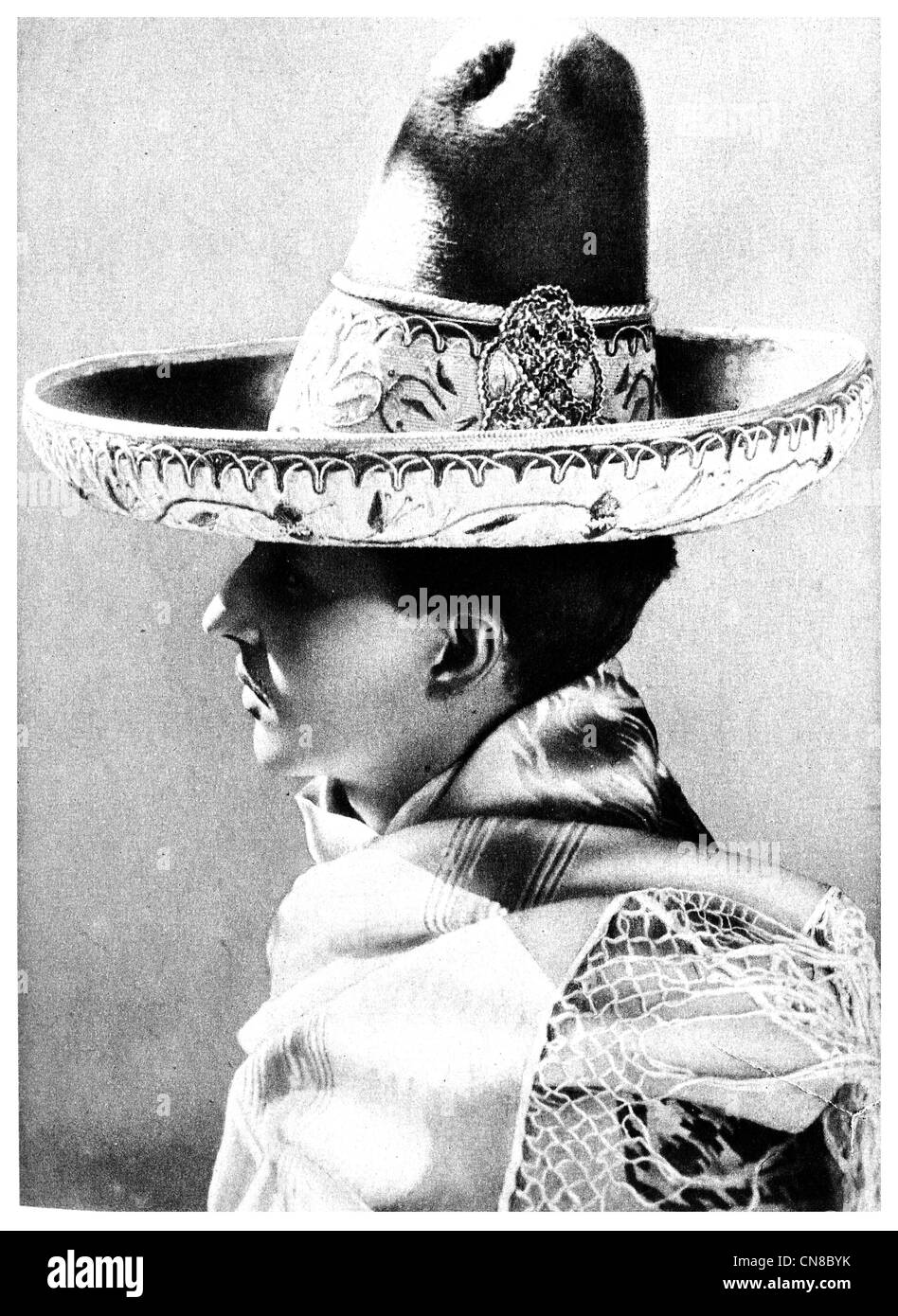 First published 1914 tMexican Charro and Hat traditional horseman from Mexico, - Stock Image
