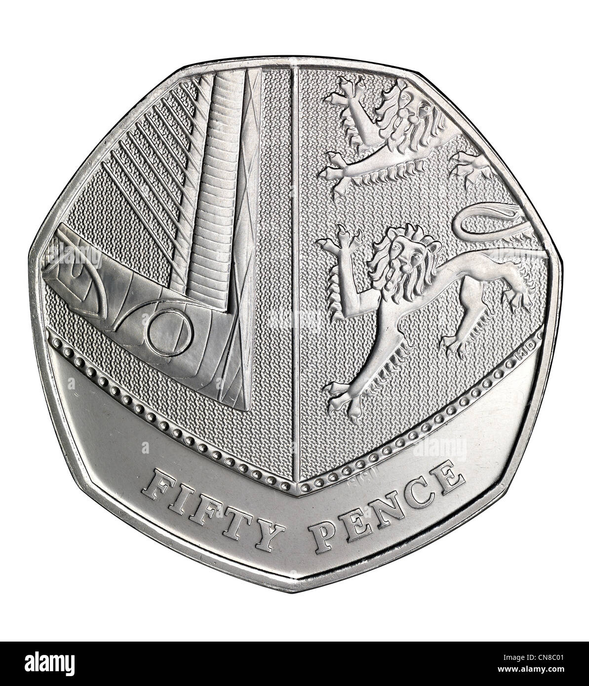 50p fifty pence coin overhead edge tails reverse - Stock Image