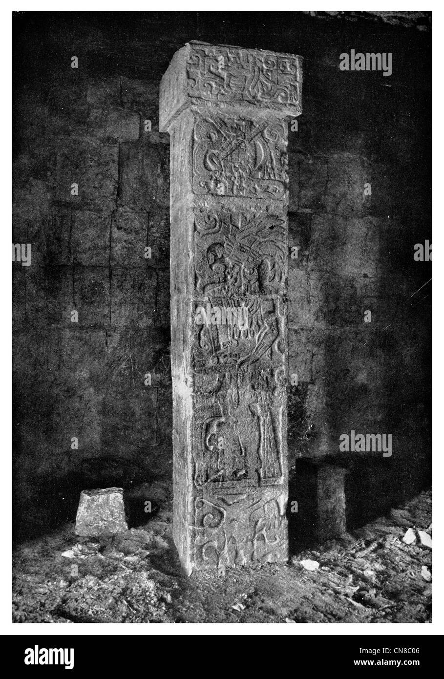 First published 1914 Sapote wood stone pillar Maya Aztec Stock Photo