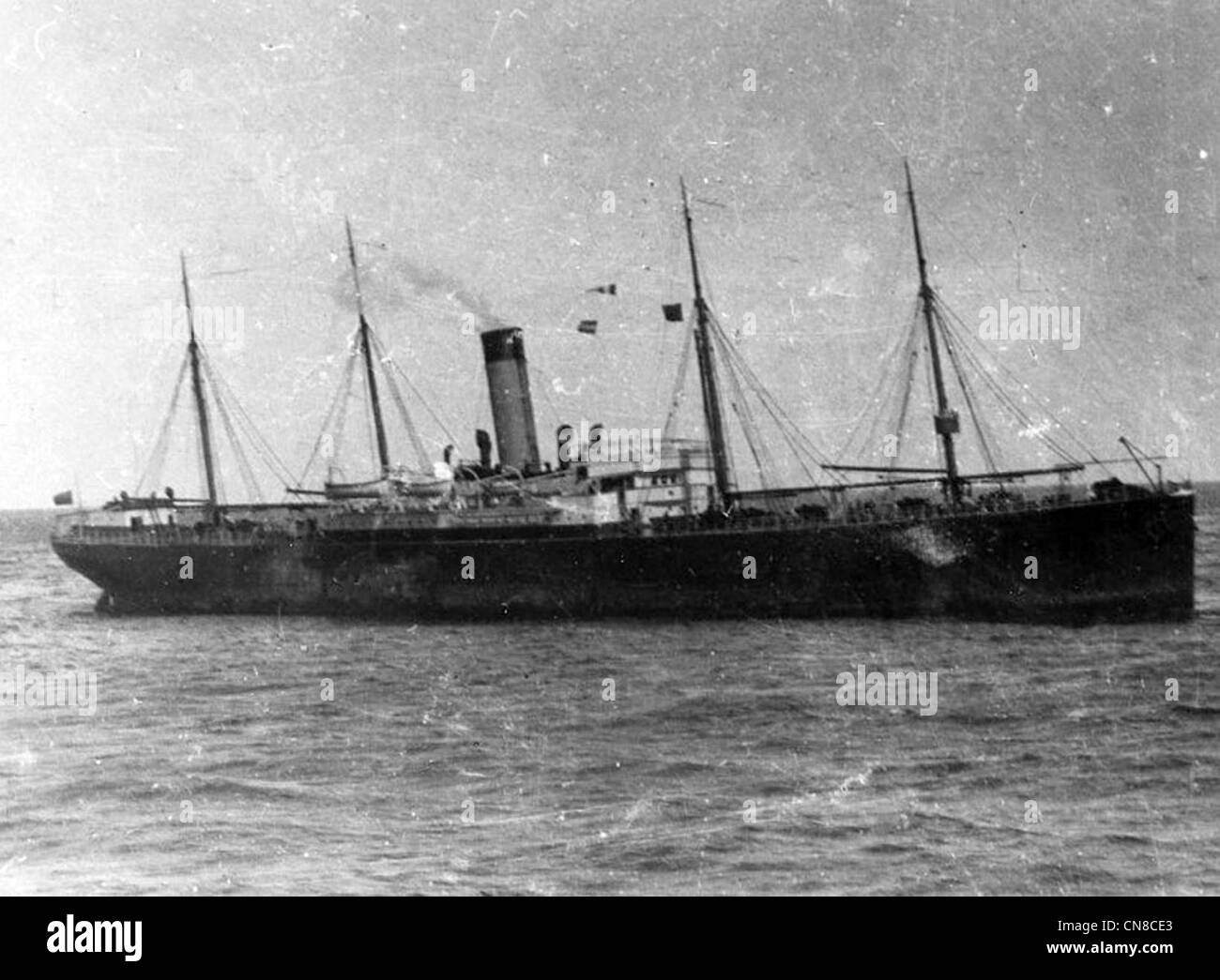 SS Californian steamship on the morning after the Titanic's sinking - Stock Image