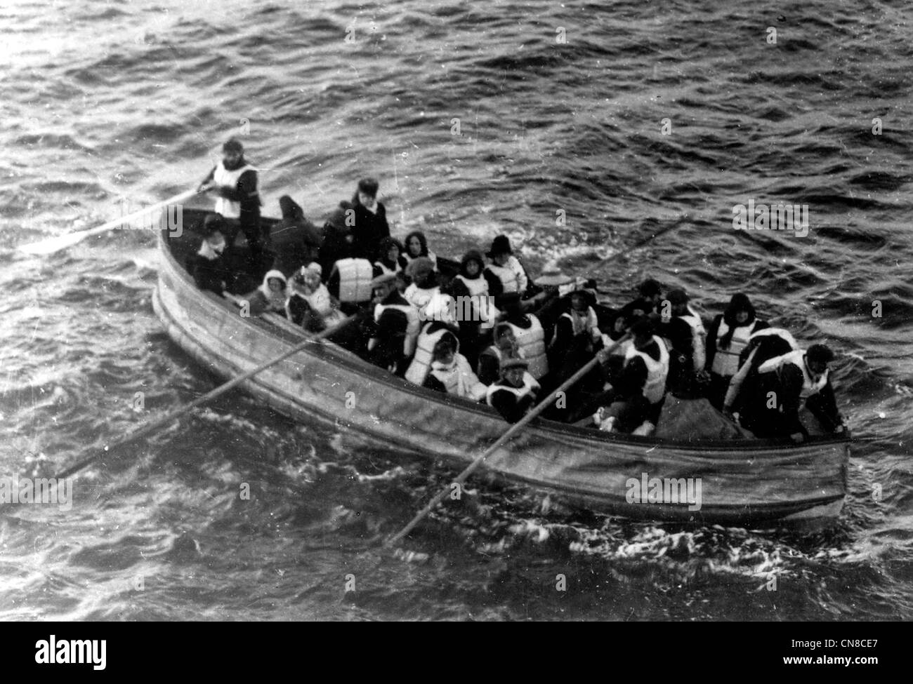 Titanic disaster, last lifeboat successfully launched from the Titanic - Stock Image