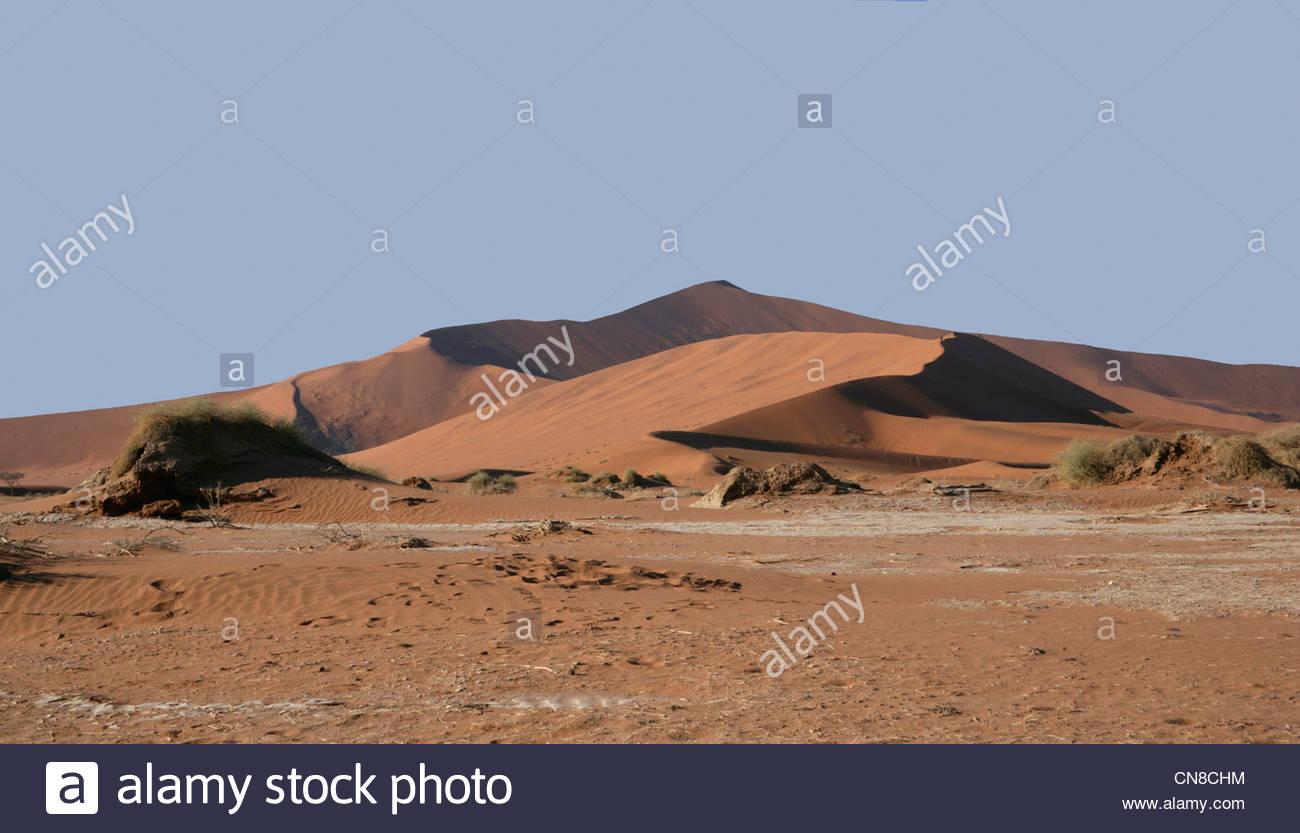 Sand Dunes in the Namib Desert at the Namib-Naukluft National Park, Sossusvlei, Namibia Stock Photo