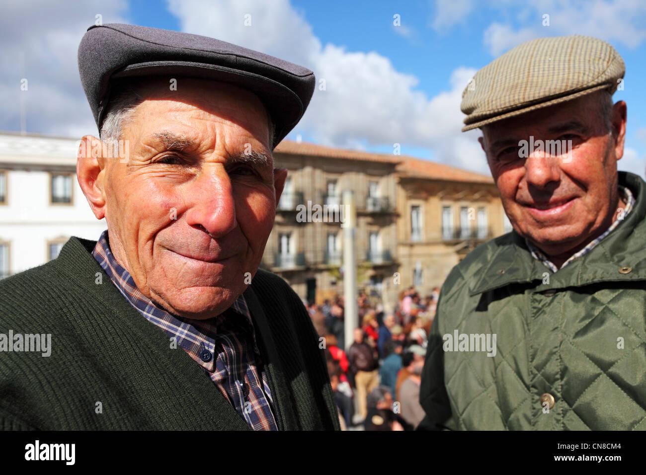 Portuguese men wearing traditional flat caps in Castelo de Vide ... d6038c8a058
