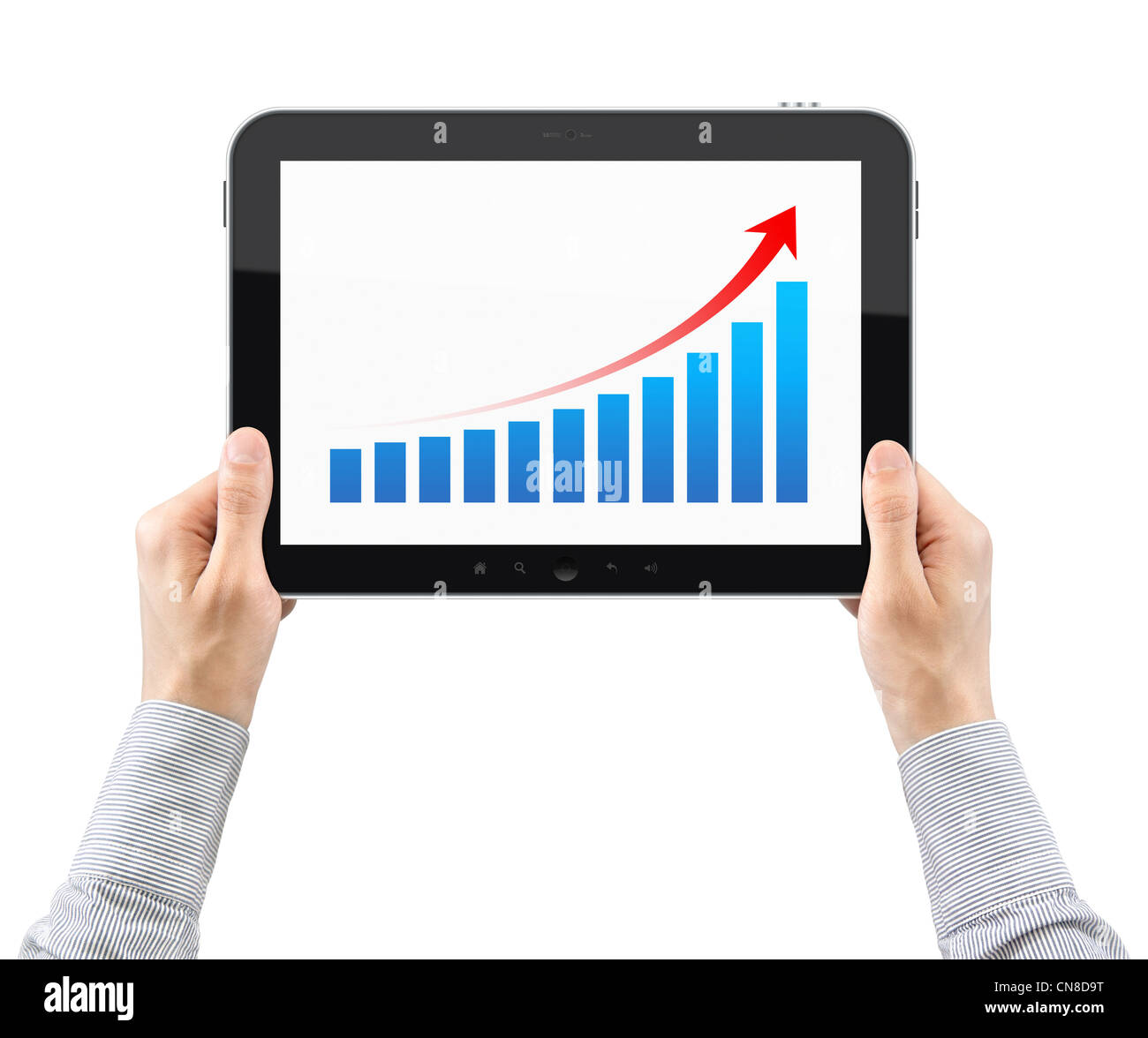 Hands Are Holding The Tablet Pc With Success Chart On A