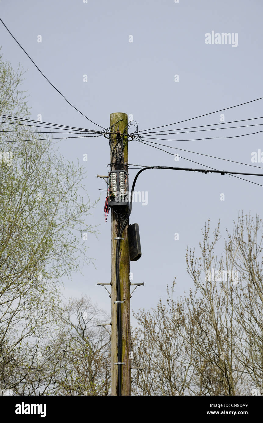 telephone pole and wires with open box and cover hanging down