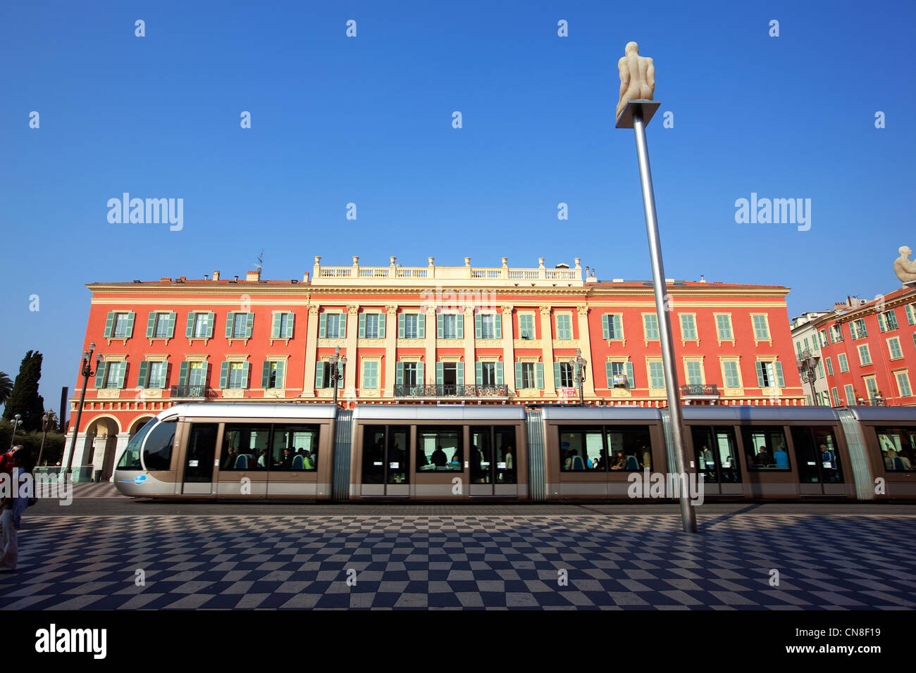 France, Alpes Maritimes, Nice, Place Massena, the tram - Stock Image