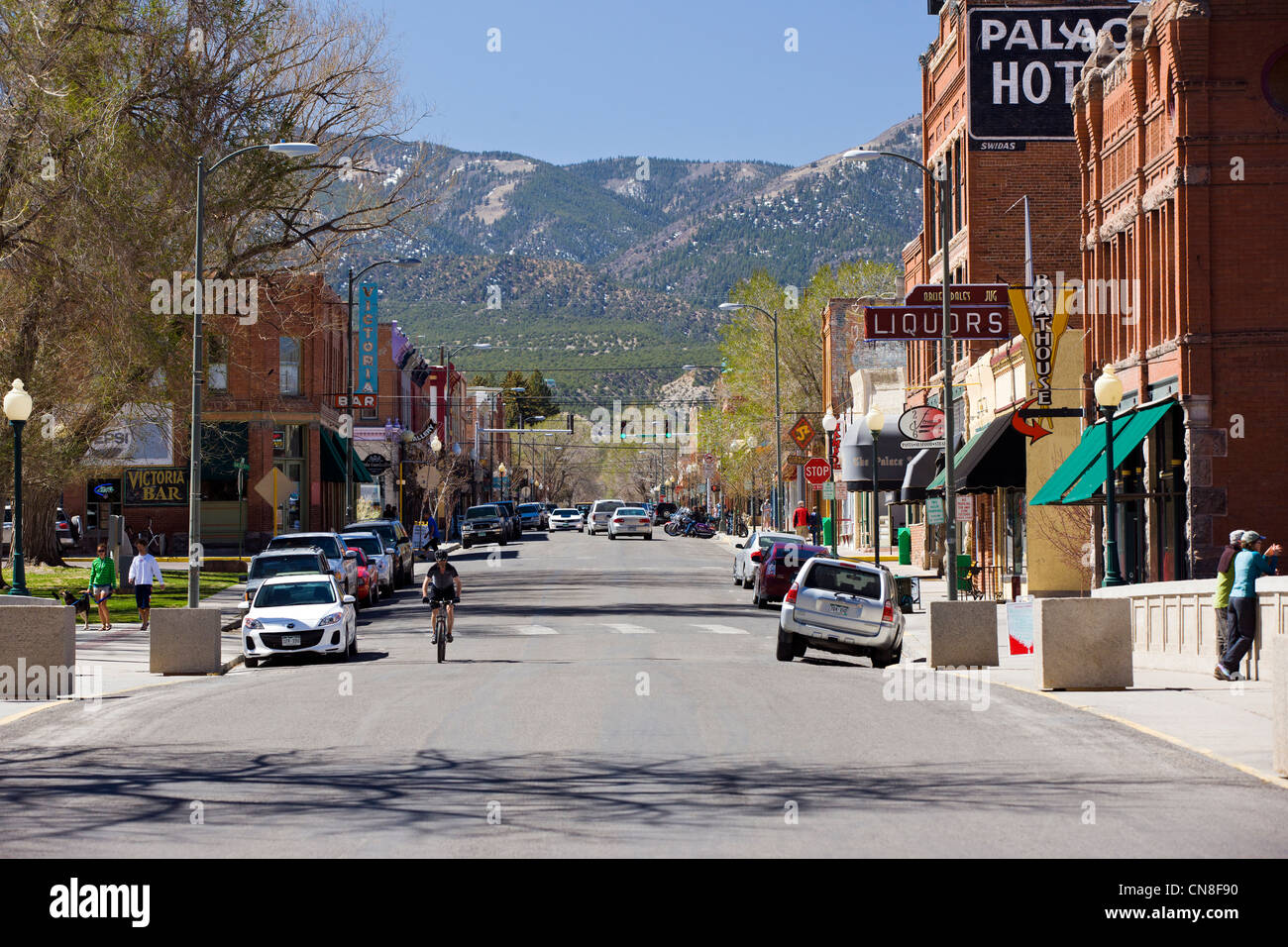 Historic downtown district, small mountain town of Salida, Colorado, USA - Stock Image
