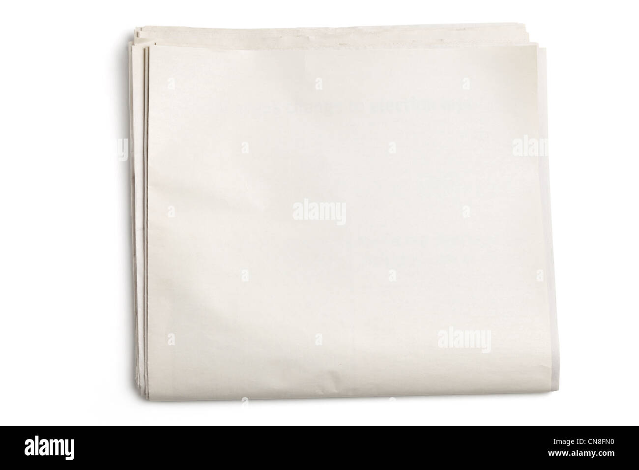 Blank Newspaper with white background - Stock Image