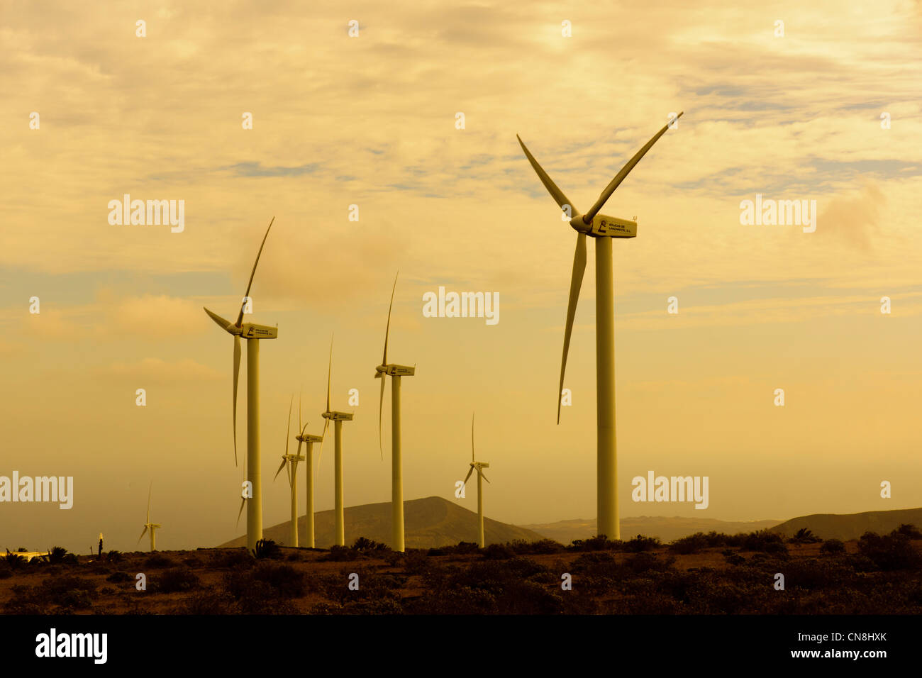 Eolicas de Lanzarote, SL. Power generation wind farm on high ridge to north west of island between Teguise and Haria. - Stock Image