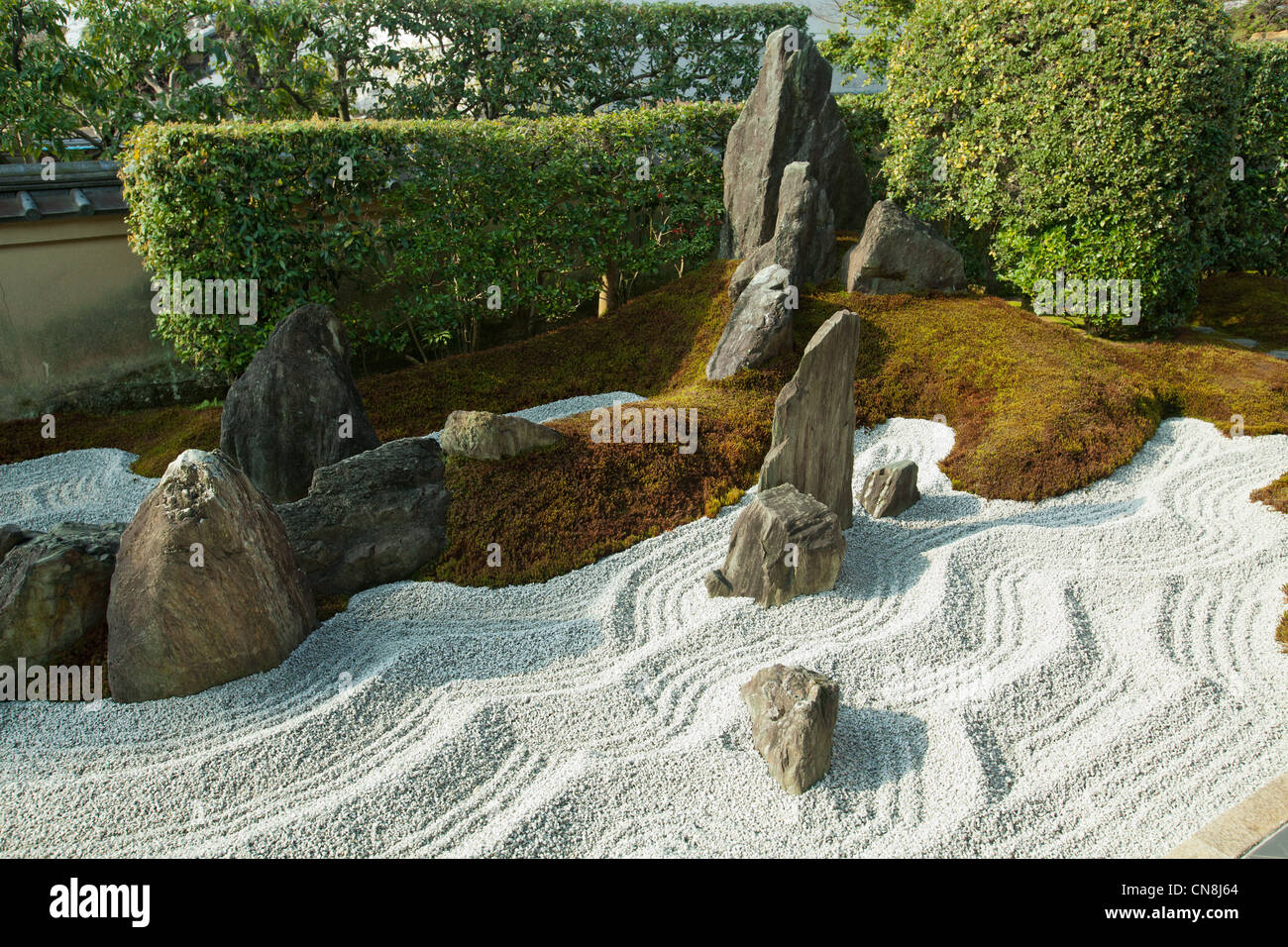 Zuiho-in is known for its modern karesansui or dry zen landscape garden esigned lby Shigemori Mirei. - Stock Image
