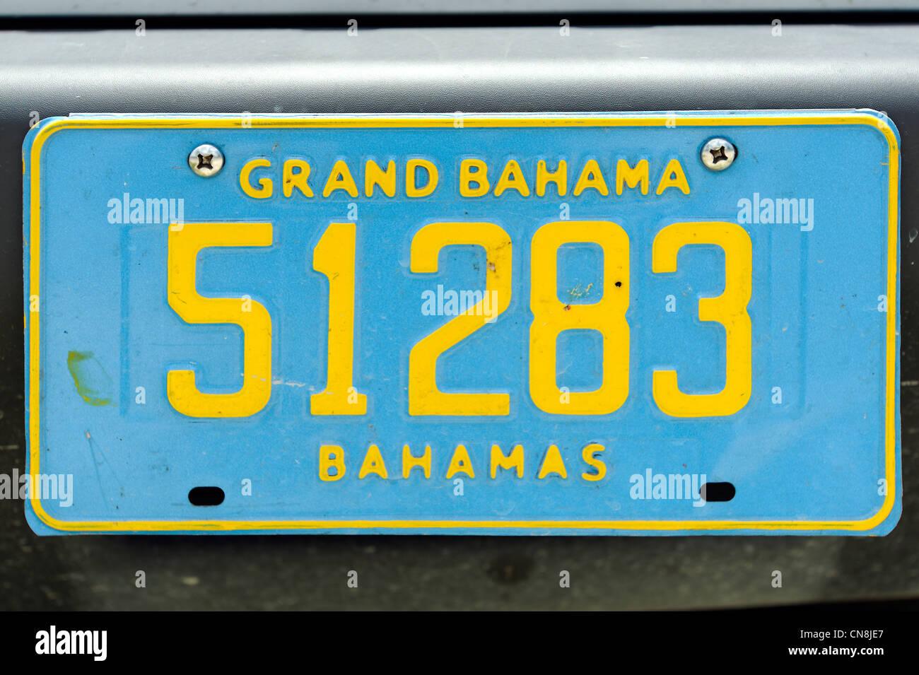 Bahamas, Grand Bahama Island, Freeport, automobile license plate - Stock Image