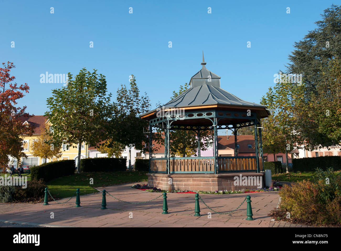 France, Bas Rhin, Bischwiller, bandstand on the station square - Stock Image
