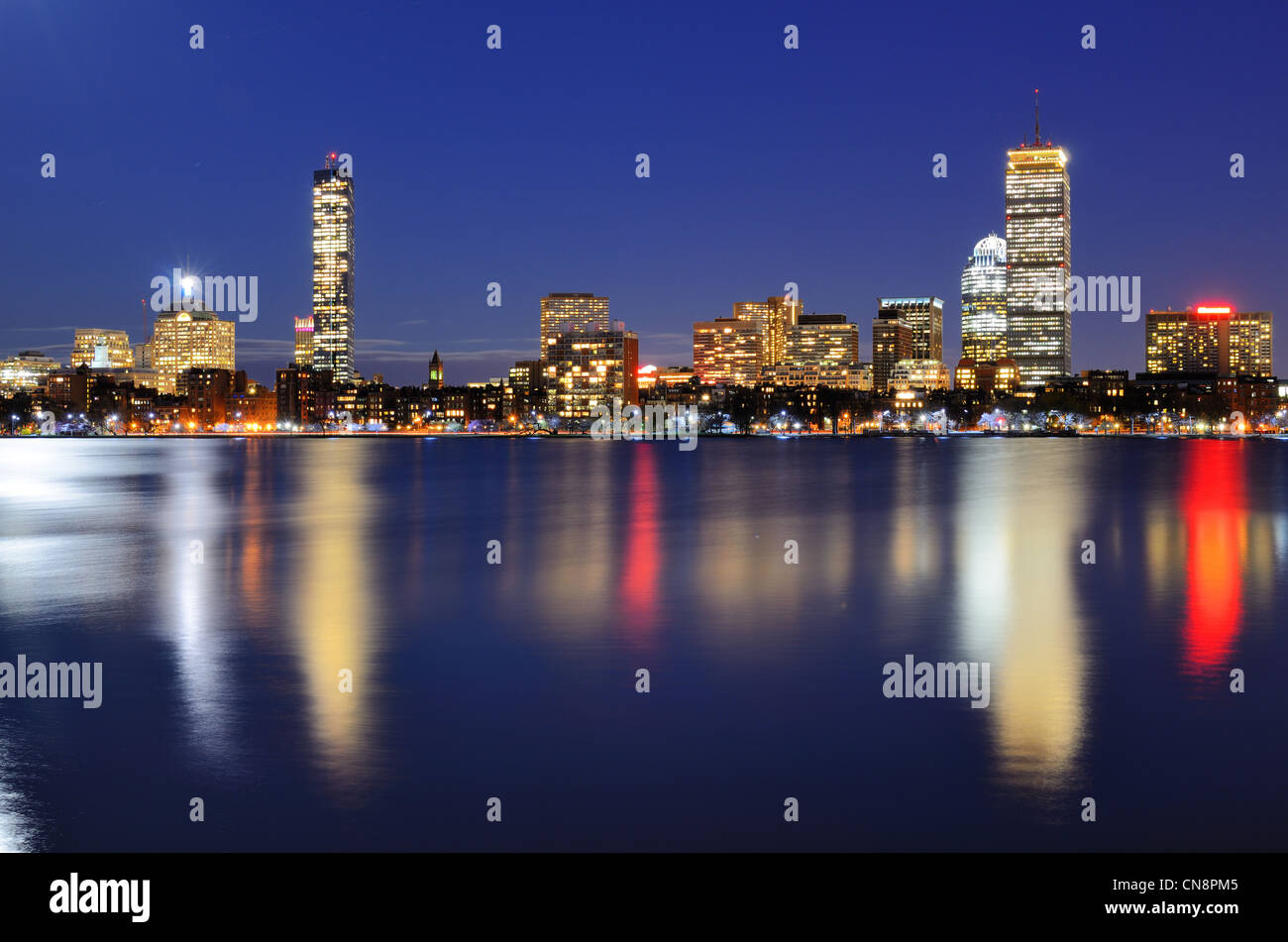 The cityscape of Back Bay Boston, Massachusetts, USA from across the Charles River. Stock Photo