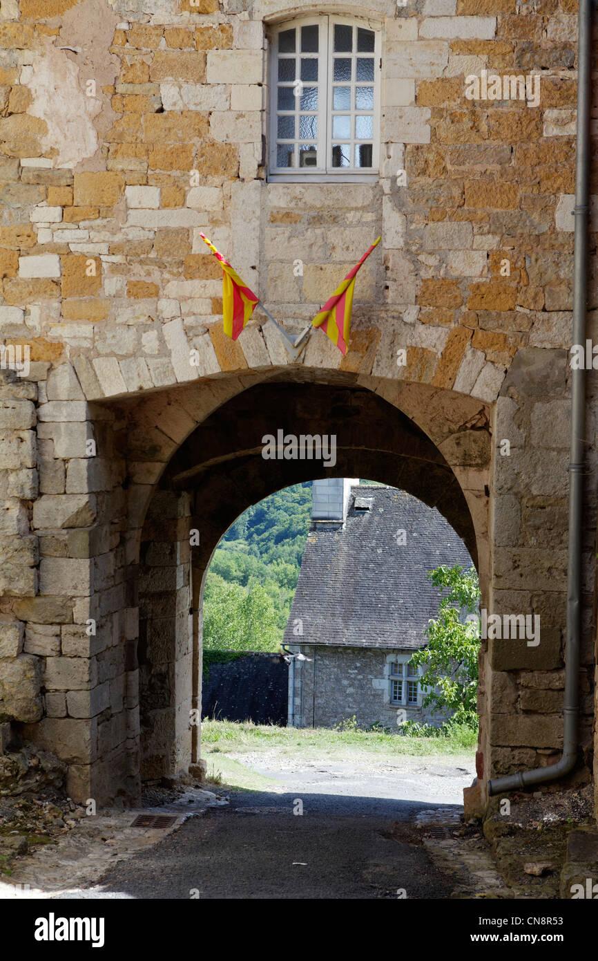 France, Correze, Turenne, labelled Les Plus Beaux Villages de France (The Most Beautiful Villages of France), Porte - Stock Image