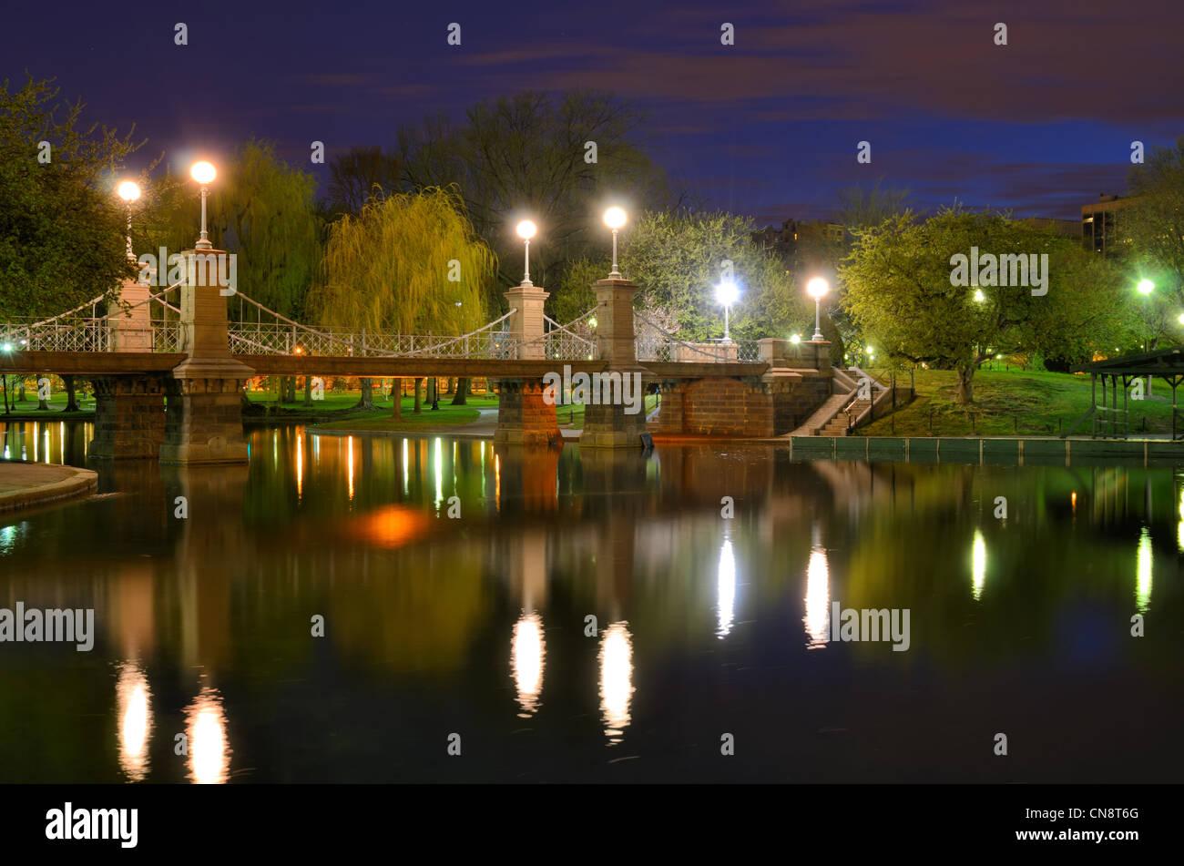 Lagoon Bridge at the Boston Public Gardens in Boston, Massachusetts ...