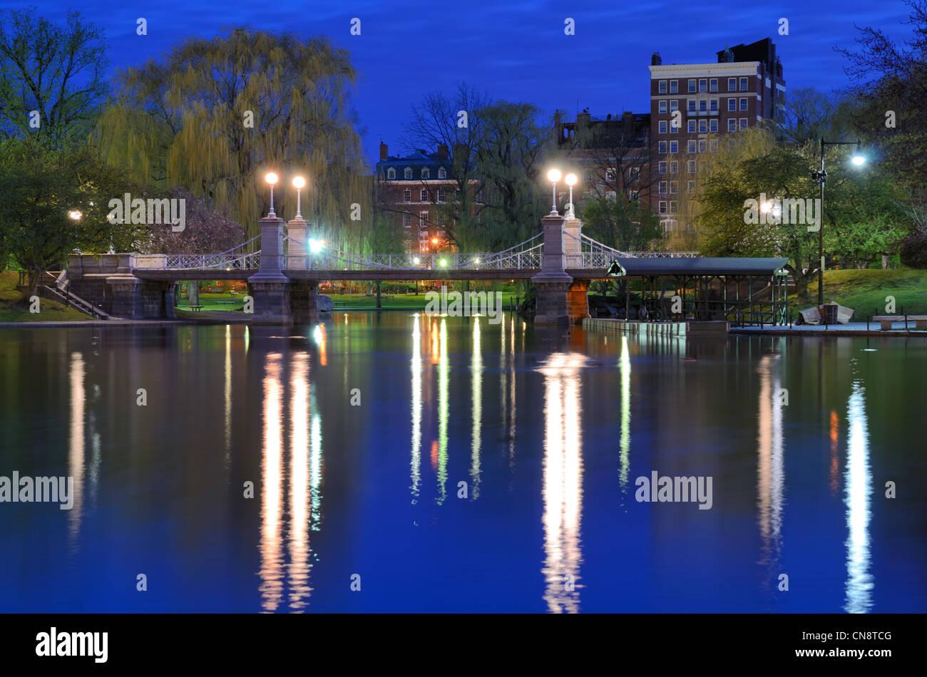 Lagoon Bridge at the Boston Public Gardens in Boston, Massachusetts. Stock Photo