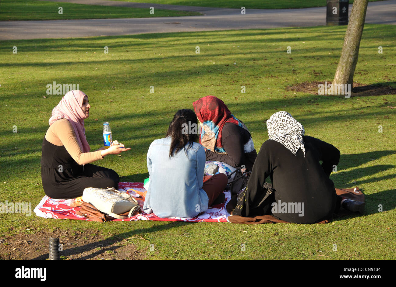 group of British muslim women sitting in Abbey Park,Leicester, England, UK - Stock Image