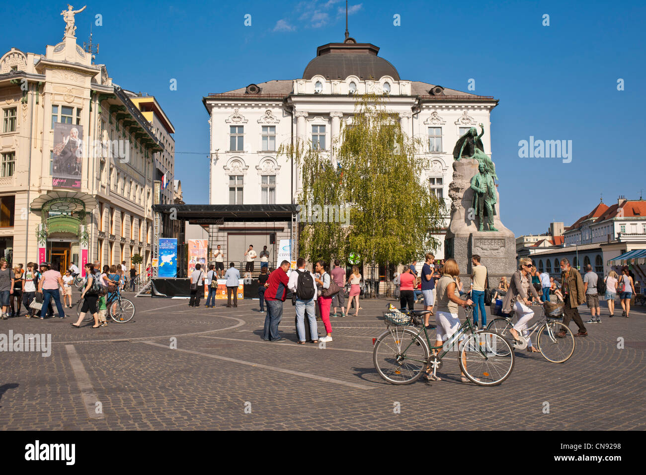 Slovenia, Ljubljana, capital town of Slovenia, the Preseren Square - Stock Image